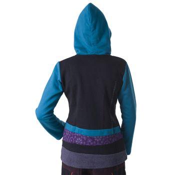 Kunst und Magie Damen Patchwork Sweatjacke Hippie Jacke Fleecefutter mit Kapuze – Bild 13