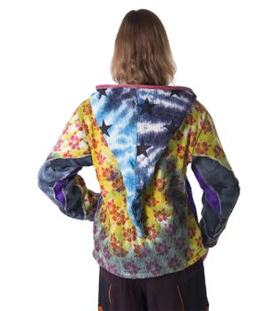 Colorful Women's Knit Jacket Stars & Flowers with Elfin Hood – Bild 5