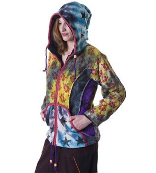 Colorful Women's Knit Jacket Stars & Flowers with Elfin Hood – Bild 3