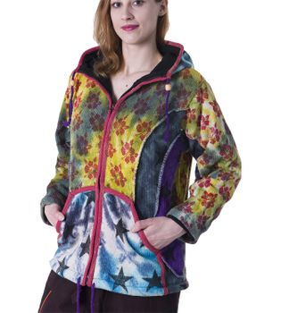 Colorful Women's Knit Jacket Stars & Flowers with Elfin Hood – Bild 1