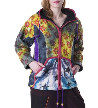 Colorful Women's Knit Jacket Stars & Flowers with Elfin Hood – Bild 2