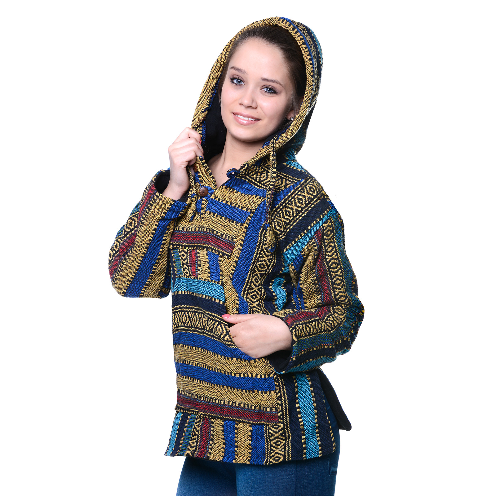 Nepal Baja Jerga Sweatshirt Poncho Damen Herren Hippie Goa Kunst und Magie