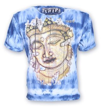 Buntes Sure 70er Retro T-Shirt Buddha im Hippie Batik Look