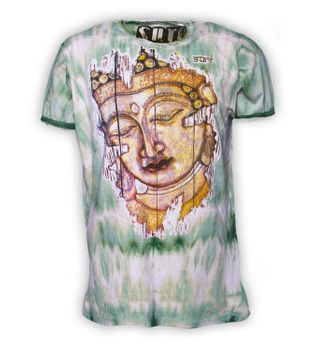 Kunst und Magie Colorful Sure 70s Retro T-Shirt Buddha in Hippie Batik Look – Bild 2