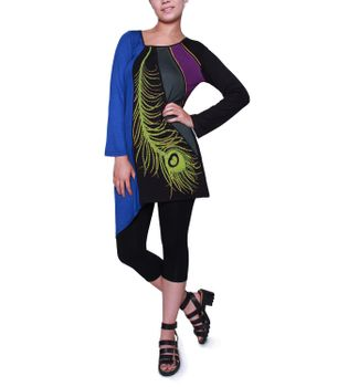 "Kunst und Magie Boho Hippie Patch shell ""Peacock"" Tunic Mini Dress Longshirt – Bild 1"