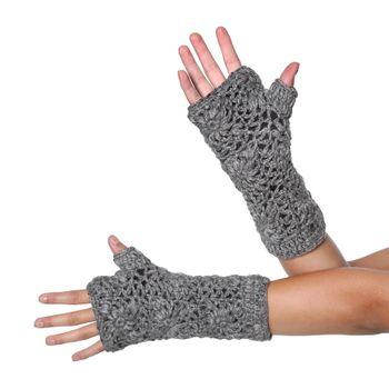 Kunst und Magie Armstulpen Stulpen Handwärmer aus Wolle mit Fleecefutter – Bild 3