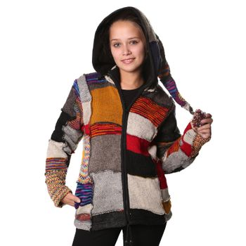 Wool Jacket Hippie Goa Knit Jacket with Elfin Hood – Bild 1