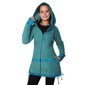 Women's Fleece Mantel Coat Jacket with Hood Goa Psy Hippie Boho Extravagant – Bild 14