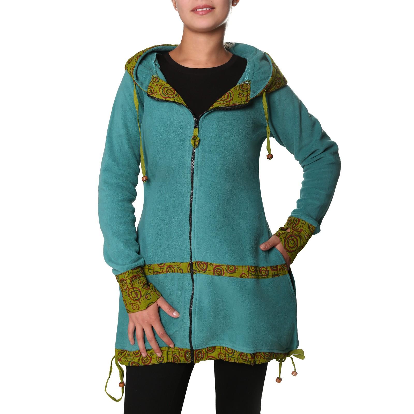 41d717f49c8a4b Kunst und Magie kurzer Damenmantel aus Fleece mit Kapuze