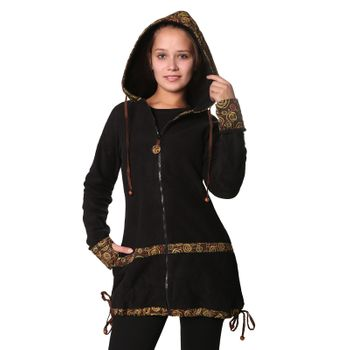 Women's Fleece Mantel Coat Jacket with Hood Goa Psy Hippie Boho Extravagant – Bild 17