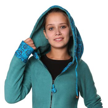 Women's Fleece Mantel Coat Jacket with Hood Goa Psy Hippie Boho Extravagant – Bild 15