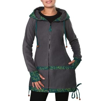 Women's Fleece Mantel Coat Jacket with Hood Goa Psy Hippie Boho Extravagant – Bild 23