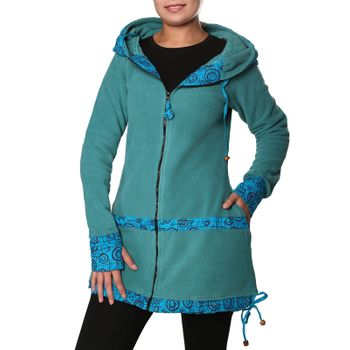 Women's Fleece Mantel Coat Jacket with Hood Goa Psy Hippie Boho Extravagant – Bild 13