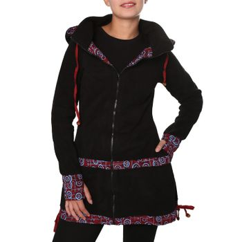 Women's Fleece Mantel Coat Jacket with Hood Goa Psy Hippie Boho Extravagant – Bild 21
