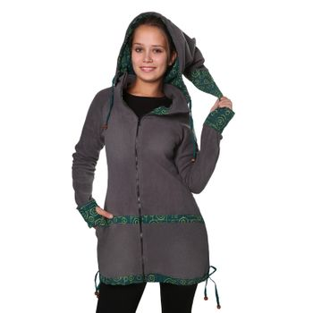 Women's Fleece Mantel Coat Jacket with Hood Goa Psy Hippie Boho Extravagant – Bild 8