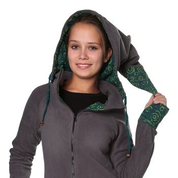 Women's Fleece Mantel Coat Jacket with Hood Goa Psy Hippie Boho Extravagant – Bild 9