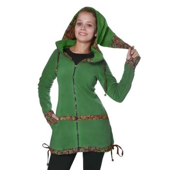 Women's Fleece Mantel Coat Jacket with Hood Goa Psy Hippie Boho Extravagant – Bild 7