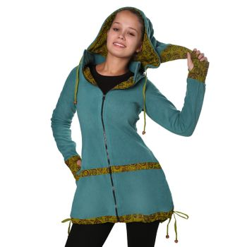 Women's Fleece Mantel Coat Jacket with Hood Goa Psy Hippie Boho Extravagant – Bild 4