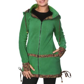 Women's Fleece Mantel Coat Jacket with Hood Goa Psy Hippie Boho Extravagant – Bild 16