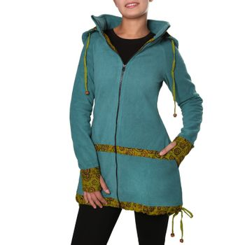 Women's Fleece Mantel Coat Jacket with Hood Goa Psy Hippie Boho Extravagant – Bild 18
