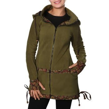 Women's Fleece Mantel Coat Jacket with Hood Goa Psy Hippie Boho Extravagant – Bild 19