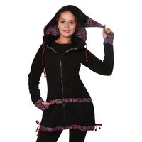 Women's Fleece Mantel Coat Jacket with Hood Goa Psy Hippie Boho Extravagant 001