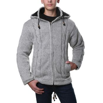 Kunst und Magie cardigan with fleece lining and detachable hood for men – Bild 1