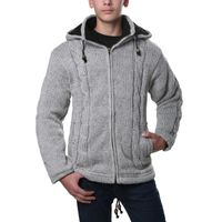Kunst und Magie cardigan with fleece lining and detachable hood for men 001
