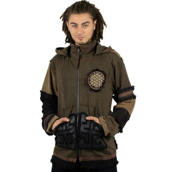 "Extravagant Fleece Jacket ""Buddha"" in a Unique Design Goa Psy Hippie – Bild 16"