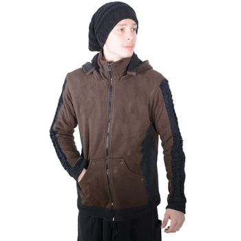 Kunst und Magie Men Goajacke made of cotton with fleece lining, hood and lacing Medieval – Bild 11