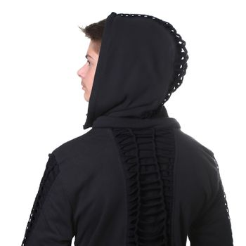 Kunst und Magie Men Goajacke made of cotton with fleece lining, hood and lacing Medieval – Bild 5