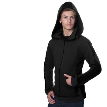 Kunst und Magie Men Goajacke made of cotton with fleece lining, hood and lacing Medieval