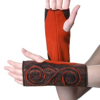 Kunst und Magie Cutwork Fleece Pulswärmer Armstulpen Stulpen Goa Hippie Psy Handwärmer – Bild 7