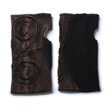 Kunst und Magie Cutwork Fleece Pulswärmer Armstulpen Stulpen Goa Hippie Psy Handwärmer – Bild 2