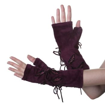 Velvet Arm Warmers with Decorative Leaf-Shaped Applications – Bild 5