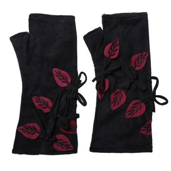 Velvet Arm Warmers with Decorative Leaf-Shaped Applications – Bild 2