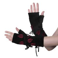 Velvet Arm Warmers with Decorative Leaf-Shaped Applications 001