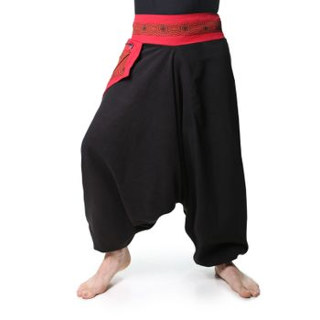 Fleece Pants with Red Om-Symbol Psy Goa Harem Pants  – Bild 1