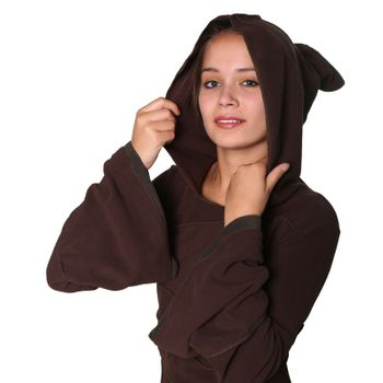 Women's Fleece Mantel Coat Jacket with Hood Goa Psy Hippie Boho Extravagant – Bild 5