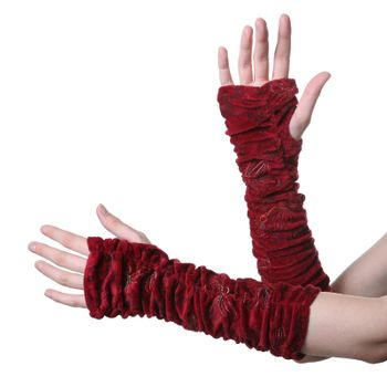 Velvet Arm Warmers with Funny Pom Poms in Great Colors – Bild 3
