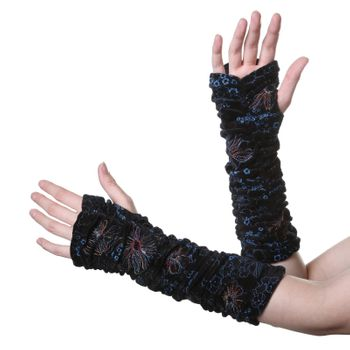 Velvet Arm Warmers with Funny Pom Poms in Great Colors – Bild 1