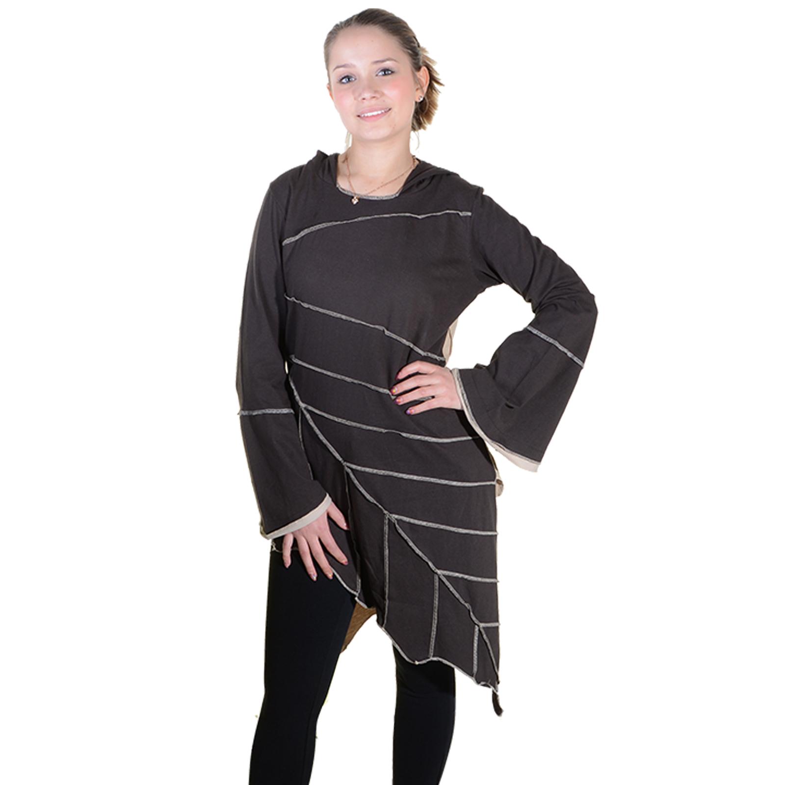 kunst und magie zipfeliges kleid in blattform mit zipfelkapuze fairy goa  pixie