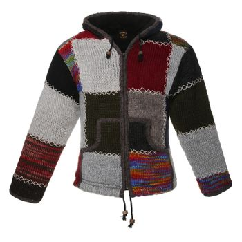Kunst und Magie Bunte Patchwork Strickjacke Schurwolle Unisex Alternative Mode – Bild 1