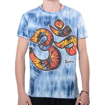 "Kunst und Magie Sure Men Colorful 70s Retro Hippie T-Shirt ""OM""in batik"