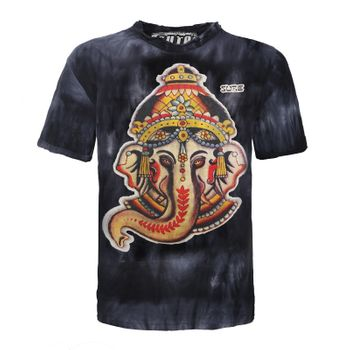"Sure Men Colorful 70s Retro Hippie T-Shirt ""Ganesh"" in batik – Bild 1"
