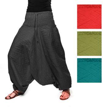 Kunst und Magie Damen Gesteppte Haremshose mit gesmoktem Bund - Goa Wellnesshose