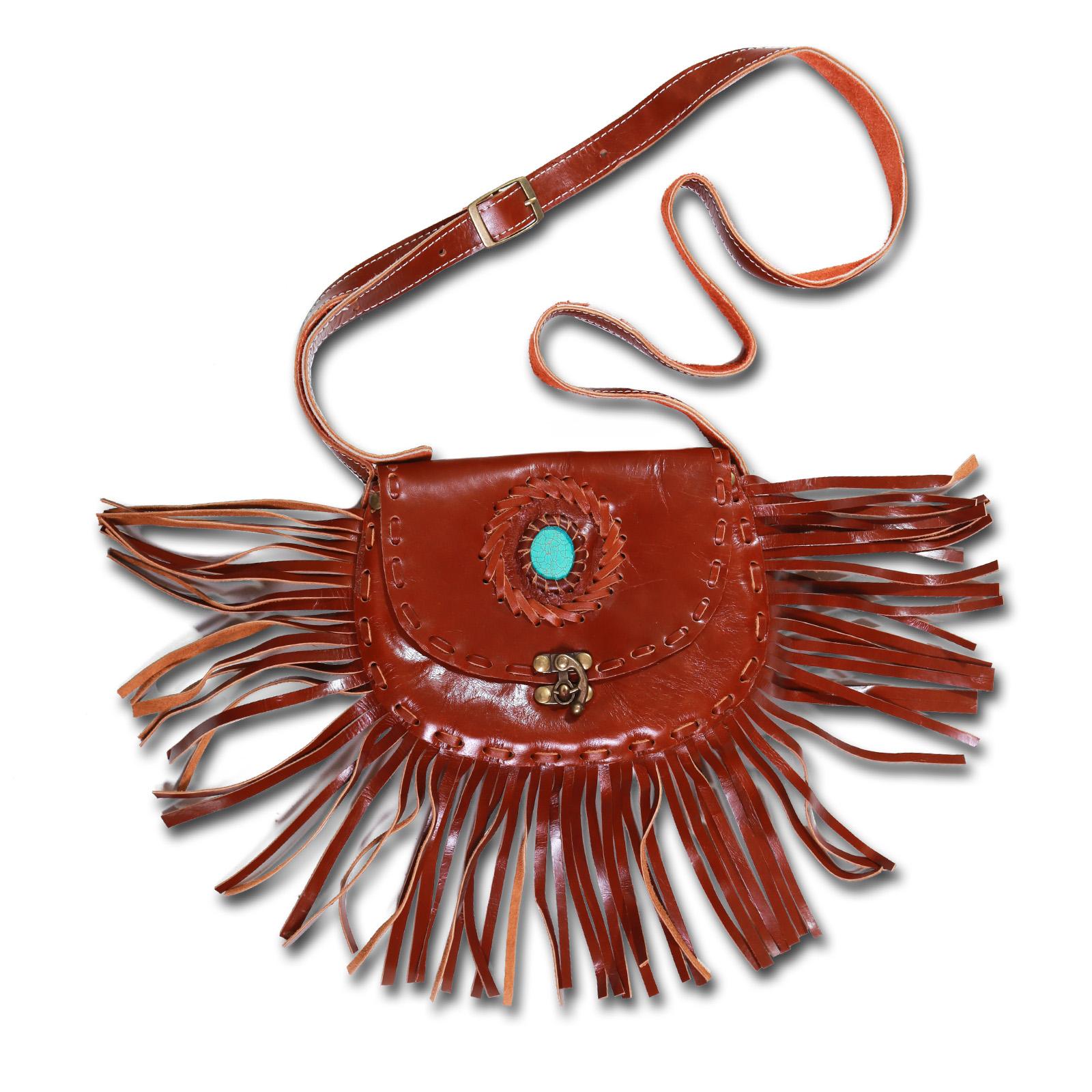 Kunst und Magie Western Damenhandtasche, Leder mit Stein und Fransen