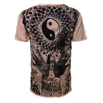 Kunst und Magie Sure Buntes 70er Retro T-Shirt Ying Yang  im Crinkle Look – Bild 3