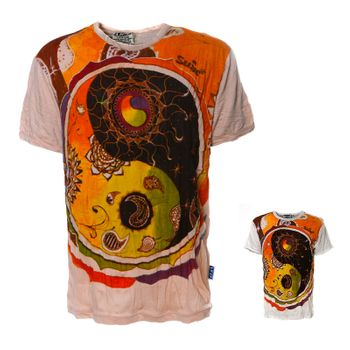 Kunst und Magie Sure Buntes 70er Retro T-Shirt  Sun mit Ying  Yang Motiv  im Crinkle Look – Bild 1