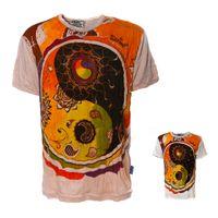 Kunst und Magie Sure Buntes 70er Retro T-Shirt  Sun mit Ying  Yang Motiv  im Crinkle Look 001
